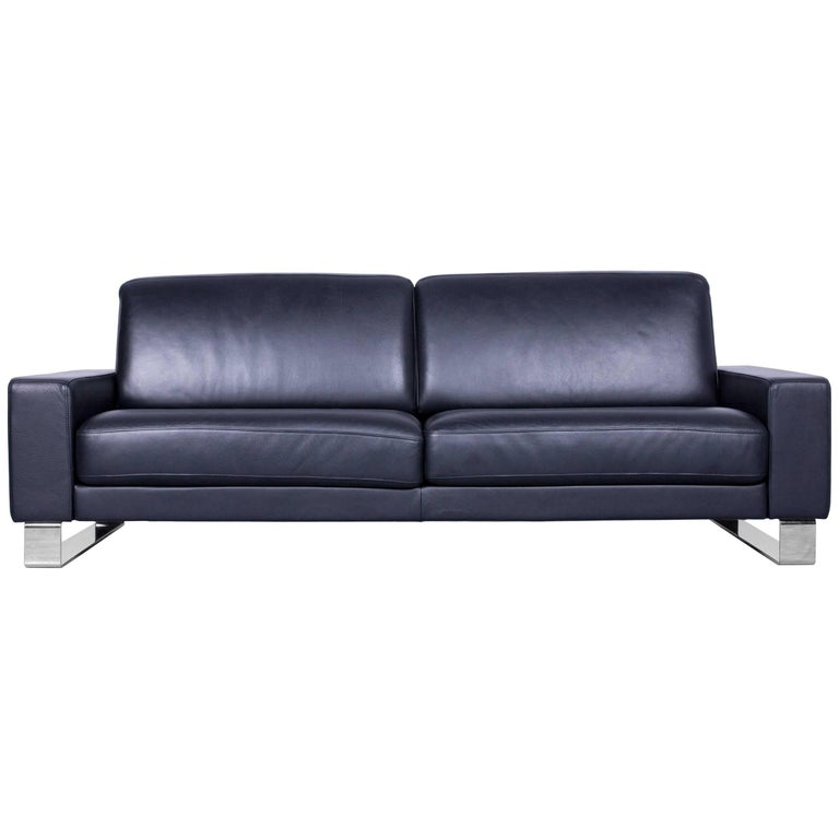 Rolf Benz Ego Designer Sofa Black Three Seat Leather
