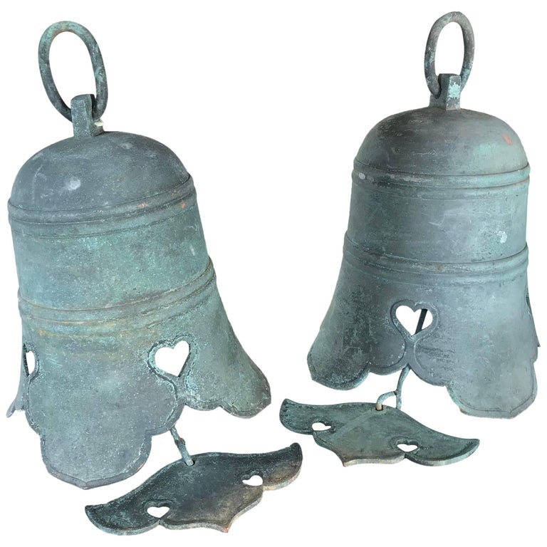 "Japanese Antique Pair of Hand Cast Big Bronze Temple Bells with ""Cloud"" Chimes"