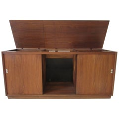 Midcentury Walnut Stereo and Record Cabinet