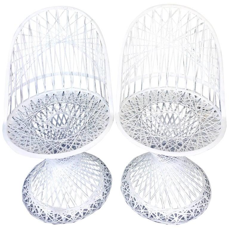 Pair of Mid-Century Modern Spun Fiberglass Slipper Chairs by Russell Woodard