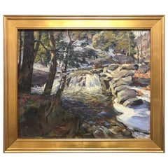 New England Oil Painting by Frederick Sexton Signed