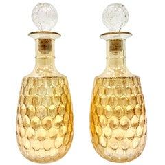 Midcentury Pair of American Blown Glass Iridescent Thumbprint Liquor Decanters