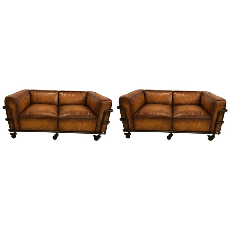 Pair Of Style Sofas On Metal Frame Piping With Casters For
