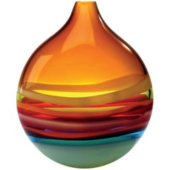 Large Amber Orange Glass Flat Round Vase by California Designer Caleb Siemon