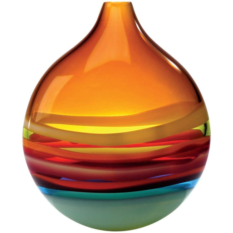 Large Amber Orange Glass Flat Round Vase by California Designer Caleb Siemon For Sale