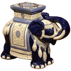 Mid 20th Century French Ceramic Hand-Painted Elephant-Form Garden Seat