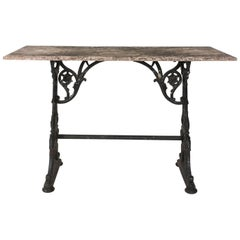 Late 19th Century Cast Iron Marble-Top Baker's Table