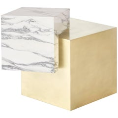 Coexist Askew Side Table in Statuary Marble with Brushed Brass Cube