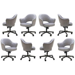 Saarinen Executive Arm Chairs in Sterling Weave, Swivel Base, Set of Eight