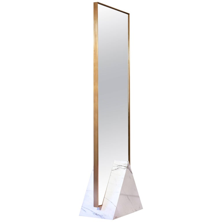 Contemporary Coexist Tri Standing Mirror in Polished Marble Cube & Brushed Brass