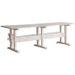 White-Washed Antique Dining Table: 1910