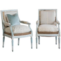 Pair of Antique Armchairs in Washed Aqua Finish: 1890