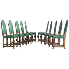 Set of Ten Danish Early 1900s Country Style Neo-Baroque Oak Dining Chairs