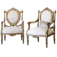 Pair of Opulent Vintage Armchairs in Muted Gilt: 1940