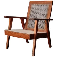 Indian Vintage Easy Chair with Wood Seat