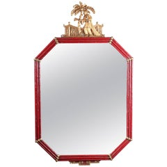 Vintage Chinoiserie Carved Vermillion & Giltwood Figural Bamboo Form Wall Mirror