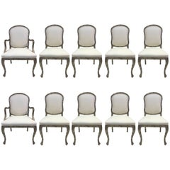 Set of Ten Louis XIV Style Silver Leaf Carved Dining Chairs