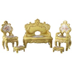 Five-Piece Antique, Victoria Carlsbad Gilt Miniature Porcelain Parlor Set