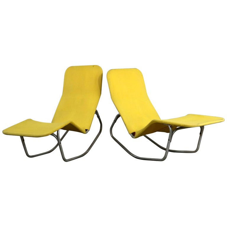 Pair of Bartolucci-Waldheim Barwa Lounge Chairs Aluminium and Yellow Canvas