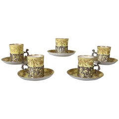 Five Classical English Staffordshire Eggshell Porcelain, Silver Espresso Cup Set