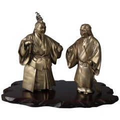Japanese Figural Bronzed Sculptures of Jo and Uba on Wood Base, Signed