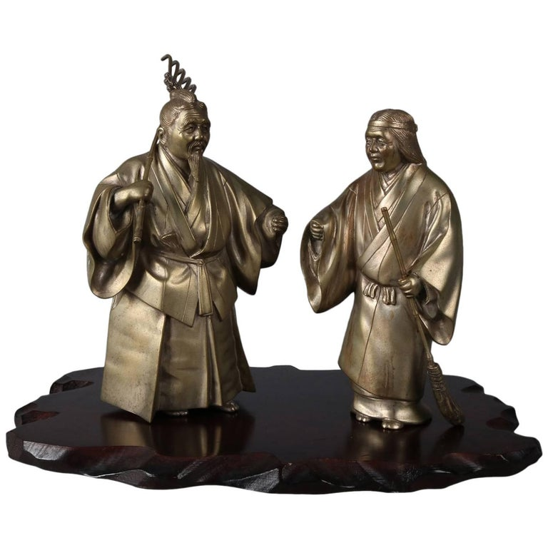 """Japanese Figural Bronzed 14"""" Sculptures of Jo and Uba on Wood Base, Signed"""
