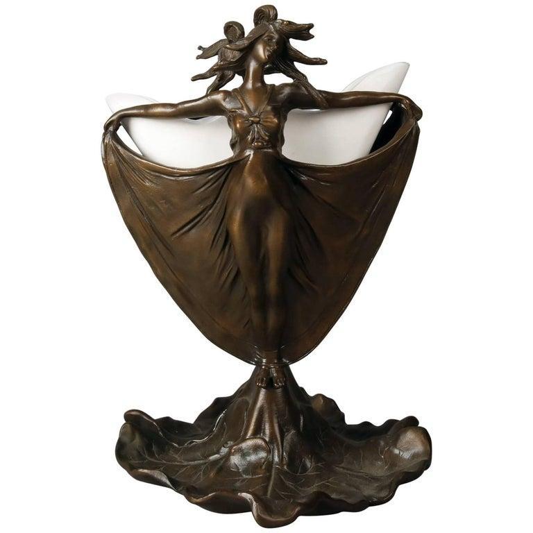 Paris Porcelain Art Nouveau Period Lamp Chinese Taste: Art Nouveau French Figural Bronze And Porcelain 12