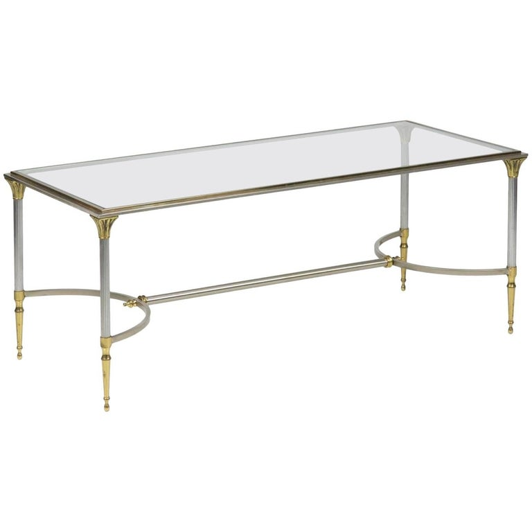 Neoclassical Style Steel, Brass and Glass Low Table in Manner of Maison Jansen