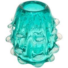 "Contemporary Organic Modern Murano Style ""Urchin"" Art Glass Vase"