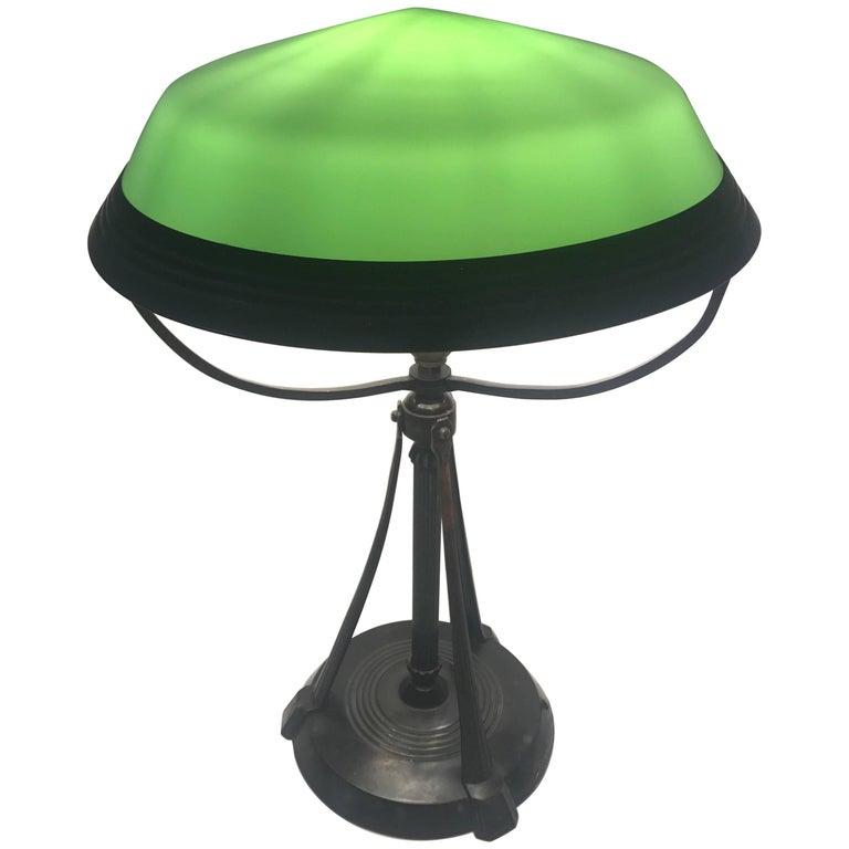 Swedish Art Deco Table Lamp Glass and Bronzepatinated Metal