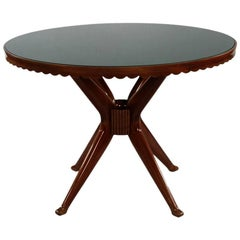 20th Century Italian Round Dining Table with Glasstop
