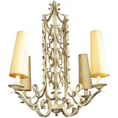 1950s Wrought Iron Chandelier in the Manner of Rene Drouet