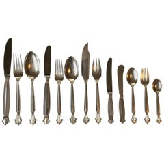 Georg Jensen Sterling Silver Acanthus Flatware Set for 12 Persons, 150 Pieces