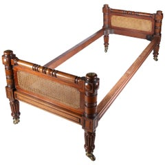 Mahogany and Cane Single Bed Frame in the Manner of Gillows