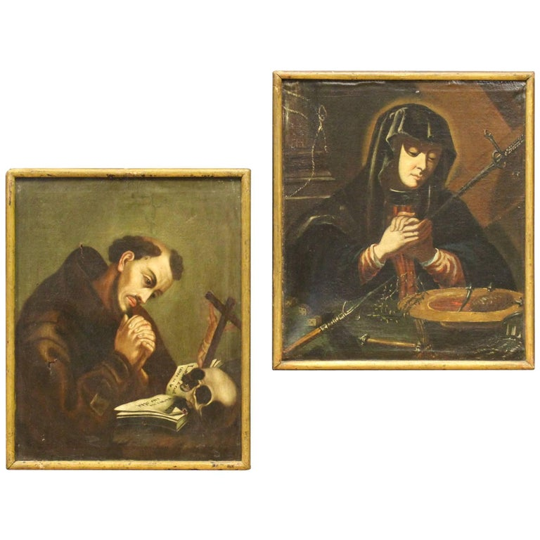 Pair French Religious Painting Oil On Canvas Virgin, Saint Francis 18th Century