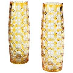 Large Pair of Bohemian Yellow Flash Cut-Glass Vases