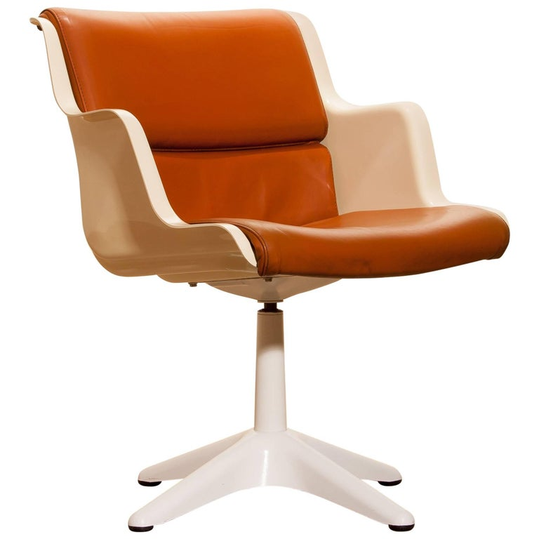 1970s, Leather, Fiberglass and Metal Desk Chair by Yrjö Kukkapuro for Haimi