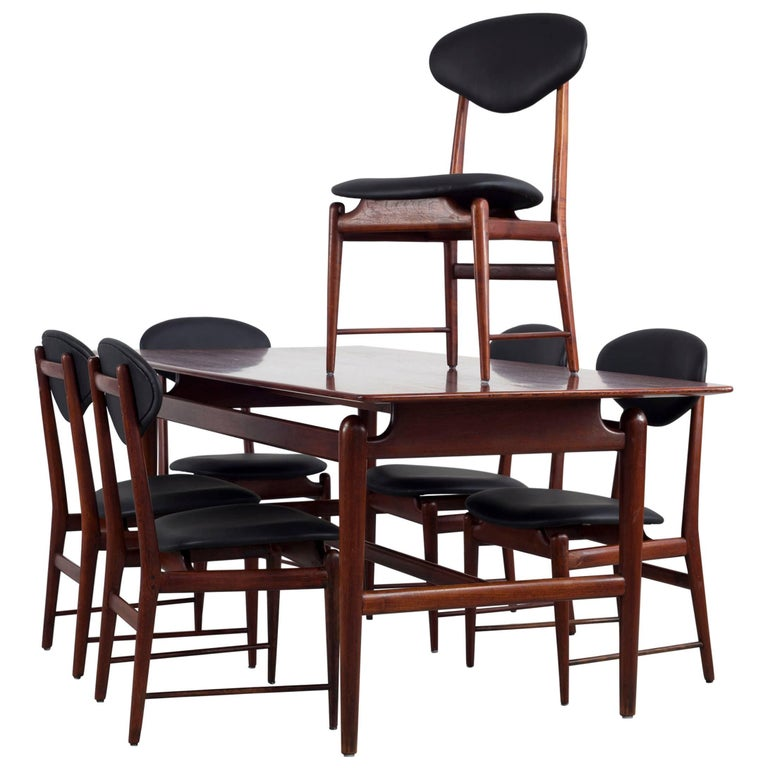 Set of Italian Dark Teak Wood Dining Table and 6 Chairs, 1950s For Sale
