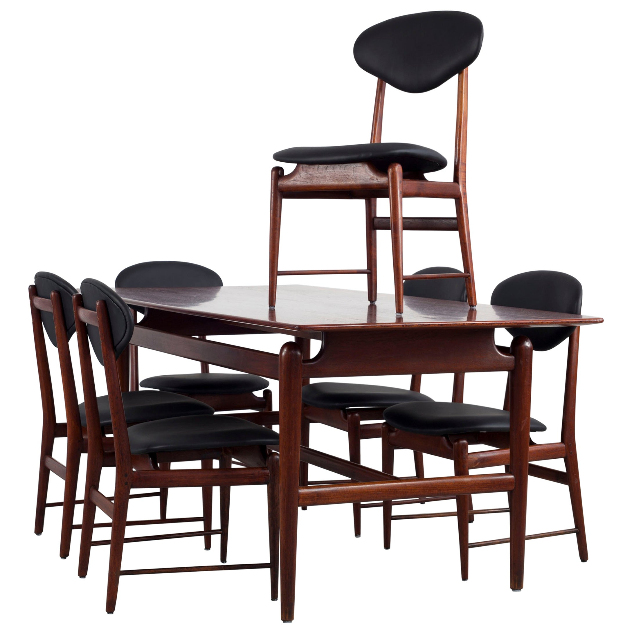 Set of Italian Dark Teak Wood Dining Table and 6 Chairs, 1950s