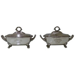 George III Sterling Silver Pair Sauce Tureens William Burwas & Richard Sibley