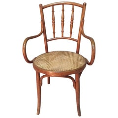 Early 20th Century Cane Armchair by Josef & Jacob Kohn