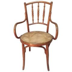 Early 20th Century Cane Armchair by Josef & Jacob Kohn