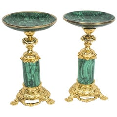 19th Century Pair Malachite and Ormolu Mounted Tazzas