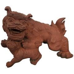 20th century Chinese Terracotta Garden Sculpture Tempel Lion.