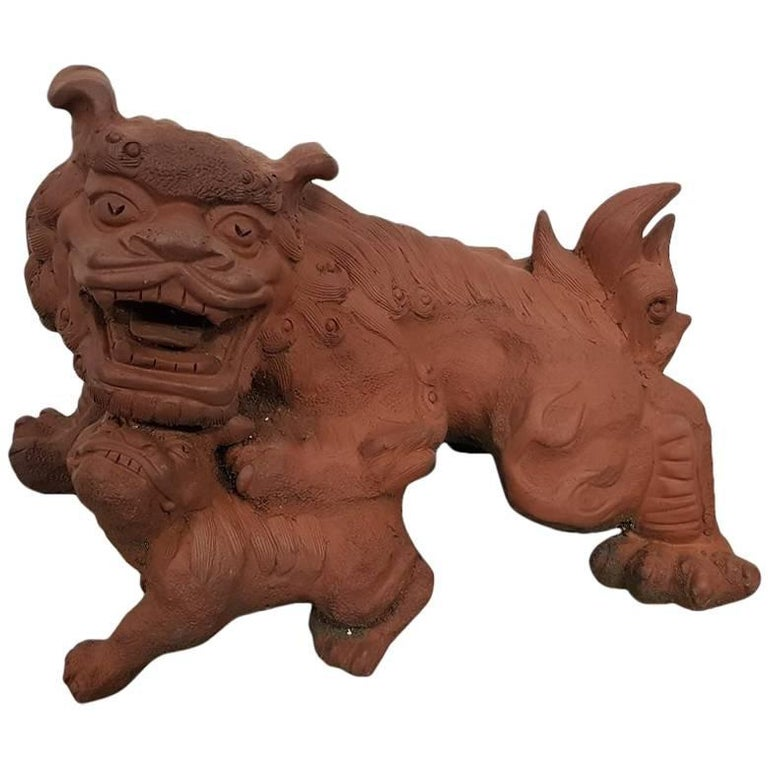 20th century Chinese Terracotta Garden Sculpture Tempel Lion. For Sale