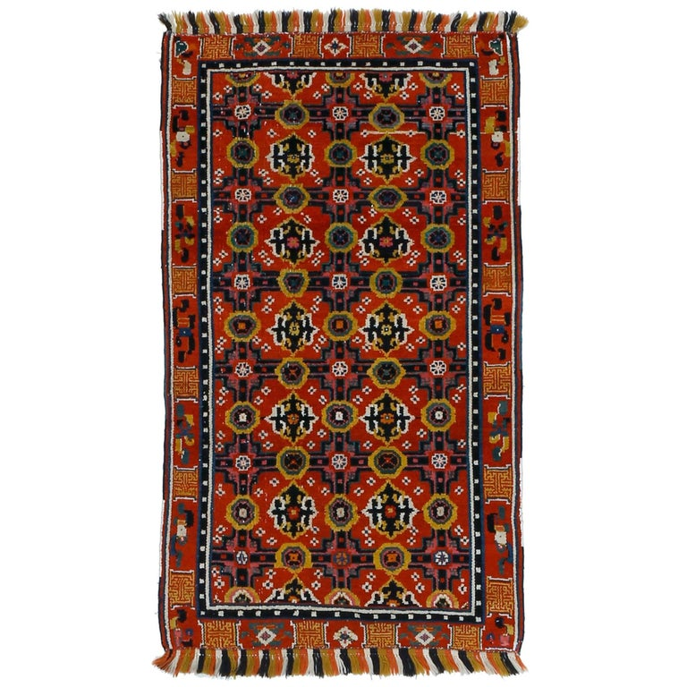 Antique Chinese Rug with Brocade Pattern