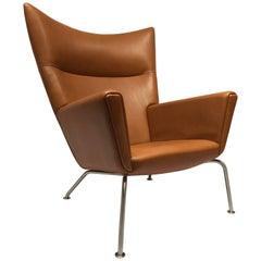 Wingchair, Model CH445 in Walnut Elegance Leather Designed by Hans J. Wegner