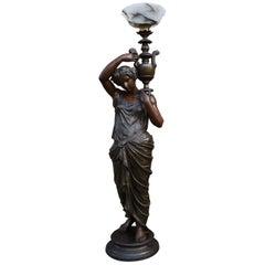 Antique Bronzed Sculpture Floor Lamp of Dione, Goddess of Water w. Maker's Mark