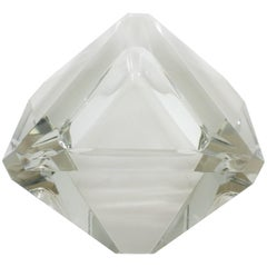 French, 1940s Art Deco Baccarat Faceted Heavy Crystal Triangular Ashtray