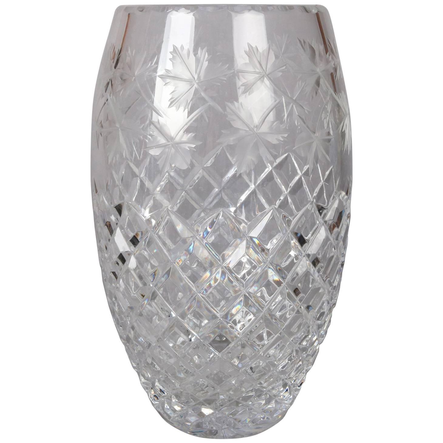 Antique Hawkes School Brilliant Cut Crystal Maple Leaf Vase, 20th Century